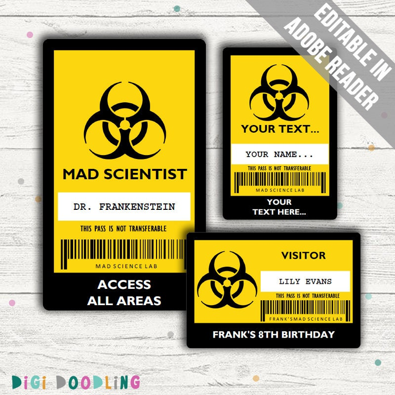 Science Party ID Badge Mad Scientist ID Badge Template - Visitor badge template