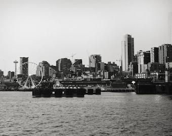 Seattle Skyline Photo, Seattle Printable, black and white photo