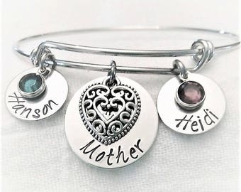 Personalized Mother Bracelet, Mom Bracelet, Mom Bangle,Mother Jewelry,Mother Bangle,Mother's Day Gift,Gift for Mom,Just For Her,Custom Gift