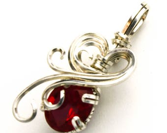 Alexandrite CZ Swirls and Curls Prong Set Silver Filled Wire Pendant