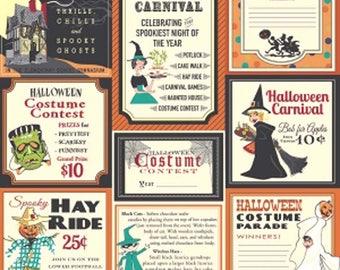 Trick or Treat Main Halloween Fabric from Riley Blake, C5990 Orange Sold By 1/2 Yard