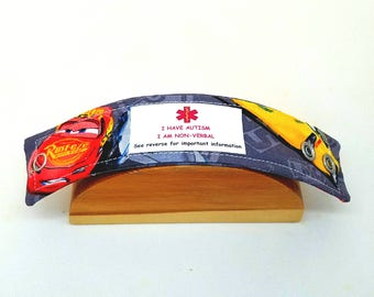 Autism Medical Alert Bracelet Safety ID Fabric Wristband - Lightning McQueen