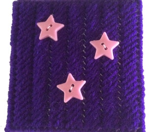 Purple Sticky Note Holder with Pink Stars, Star Notebook Cover in Plastic Canvas