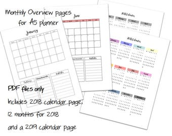2018 Calendar Monthly Insert Pages for A5 Planner - Printable PDF