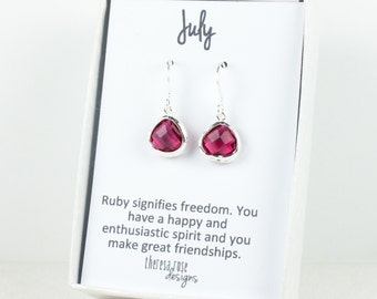 Tiny July Birthstone Silver Framed Dangle Earrings, Ruby Silver Earrings, Ruby Birthstone Earrings, July Birthday Gift, Bridal Earrings