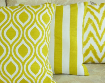 Citrus Throw Pillows Cushion COVERS Lime White Decorative Couch Sofa Pillows Bedding Shams Nursery Decor Chevron Nicole Set of 3 Home Decor