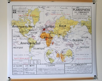 Reproduction of old school N 22 Planisphere map community by Vidal Lablache