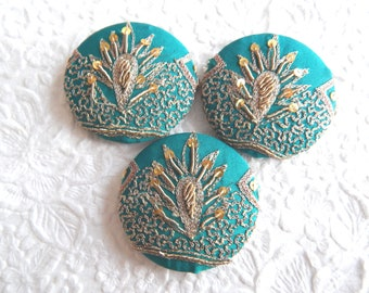 3 turquoise gold beaded embroidered fabric buttons, use in headbands, make a ring, create a pendant, accent a sweater, 1 7/8 inches