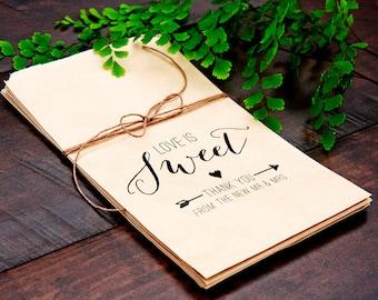 Wedding Favor Bags - Kraft Paper Favor Bags - Love is Sweet have a Treat - Wedding or Shower Favor - 5 Kraft Bags