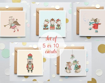 PACK of 5 or 10, Greetings Cards, Christmas Card Pack, Kid's Christmas Cards, Children's, Festive, Seasons Greetings, Multipack Cards