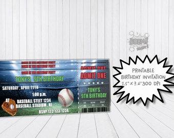 Baseball birthday invitation, Baseball invitation, Baseball ticket invite, Printable invitation, Baseball theme invitation, Baseball ticket
