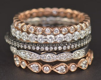 Diamond Stacking Bands, Five Stackable Diamond Bands in White, Yellow and Rose Gold, Over 2.75ctw, Fully Customizable Set, Julia Set
