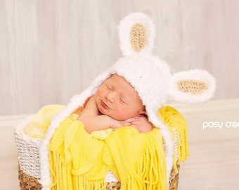 Baby Hat - Baby Bunny Hat - Soft and Fluffy with Tan, Pink or Blue Ears