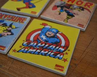 Ceramic Tile Coasters - Vintage Marvel Set