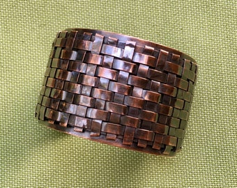 Woven Copper Cuff. Handwoven Basket Weave Design. Eye Catching and Substantial. Wide Cuff Bracelet. Adjustable Fabulous Gift for her.