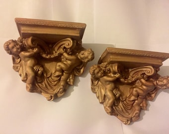 Reclaimed Upcycled Antique Neoclassical Style Cherub Plaster Wall Sconce Shelves