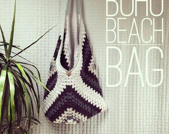 Boho messanger bag, beach bag, oversized market bag, crochet bag, reusable bags, farmers market bag, boho style, hippy bag, festival bag