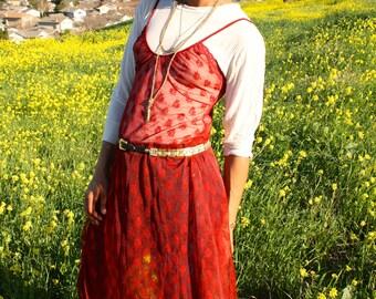 LOVE ME Vintage deep red sheer floral maxi slip dress