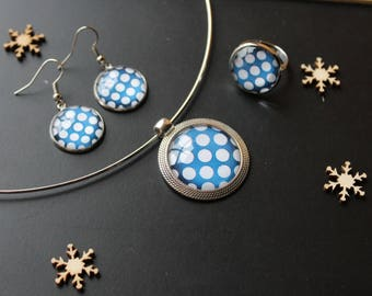 Set glass cabochon, blue, white, polka dots
