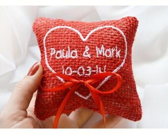 Ring bearer pillow ,Heart wedding pillow ,personalized ring pillow, ring bearer pillow , wedding ring pillow, Custom embroidery 4'x4'(LR16)