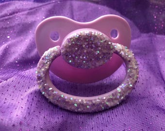 Purple glitter paci, adult pacifier, adult paci, custom paci, custom pacifier, abdl, adult baby, ddlg, ageplay, age regression, adult binky,