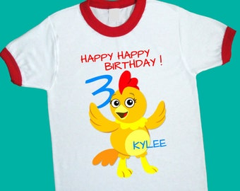 Chica Birthday Ringer Tee. The Chica Show. Personalized Birthday Shirt with Name & Age. 1st 2nd 3rd 4th 6th 7th 8th 9th Birthday Tee (25190)