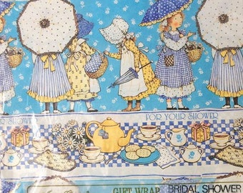 Vintage Holly Hobbie Bridal Wedding Shower Wrapping Paper NIP
