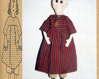 "FREE US SHIP Bless Your Heart Country Crafts 24"" Doll Ginny Primitive Folk Art Uncut New Old Store Stock Sewing Pattern Ragdoll cloth"