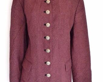 """Vintage Women's MODE AUS SALZBURG """"H. Moser"""" Fitted Patterned  Maroon Blazer Jacket Size UK16"""