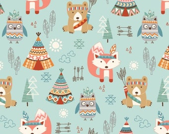 Animals and Teepees Allover on Light Teal From Studio E Fabric's Camp-A-Long Critters Collection - Cotton Fabric