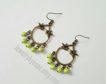 Statement Lime Green Earrings, Bird Earrings, Vintage Earrings Boho Earrings, Dangle Earrings Wedding Jewelry Mint gifts for her