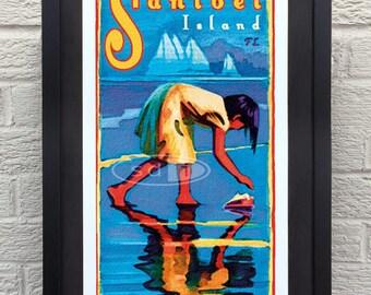 Sanibel Island travel vacation poster print art painting