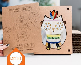 Owl baby shower decorations Stained glass Mosaic wall art DIY gift Mosaic kit DIY craft ideas Owl figurine Greatest adventure Wall art set