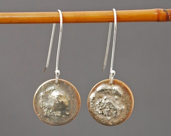 Bronze and Silver Disc Earrings  J-2231