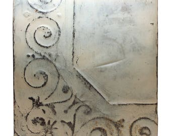 Off White Corner Pattern Antique Tin Panel