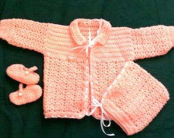 Crocheted Peach Layette--3-6 mos ~ newborn ~ infant ~ baby ~ girl