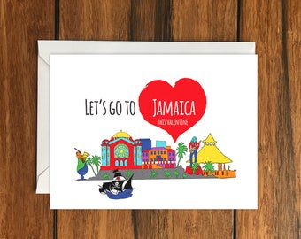 Let's Go To Jamaica This Valentine Blank greeting card, Holiday Card, Gift Idea A6