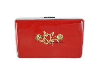 Roses Metal Cigarette Case Inlaid in Hand Painted Enamel Red Opaque Inspired Metal Wallet with Color and Personalized Options