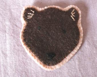 Felt Bear Pin - Felt Badge