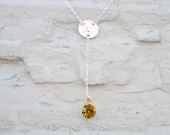 Personalized initial necklace, lariat y necklace, Lariat necklace, Initial birthstone necklace, Y necklace, Silver lariat necklace,