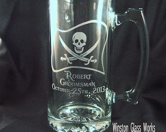 Personalized Pirate Groomsman's Beer Mug, Custom Beer Mug, Etched Mug, Man Cave Gift, Wedding Party Mugs
