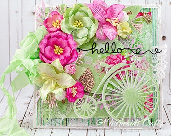 Shabby Chic Bicycle Hello Greeting Card