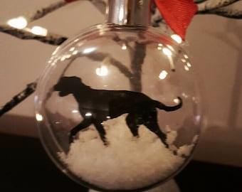 Irish Wolfhound Silhouette in the Snow Pet Bauble