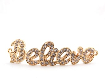 Double Link Curved Believe Word Gold-tone