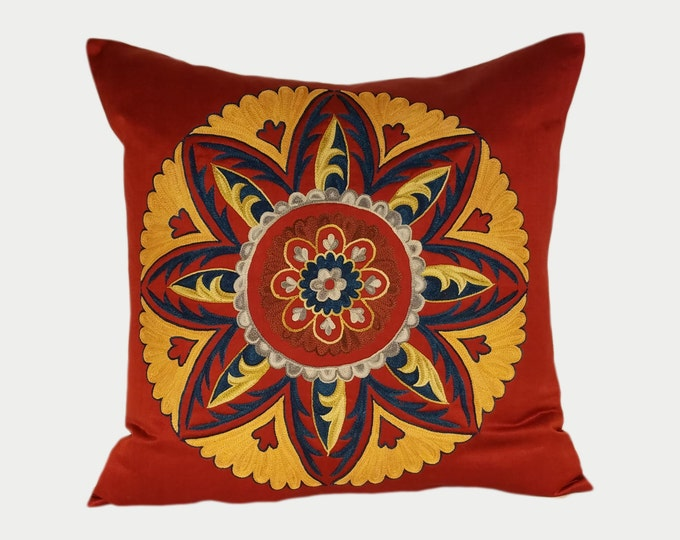 Handmade Suzani Pillow Cover, Suzani Pillow, Uzbek Suzani, Suzani Throw, Boho Pillow, Suzani, Decorative pillows, Accent pillows