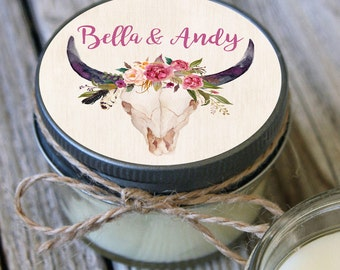 12 - 4 oz Soy Candle Bridal Shower Favors - Steel Skull Label - Floral Bridal Shower Favors - Rustic Bridal Shower Favor -Wedding Favor