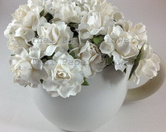 10 White Mulberry Paper Flowers Scrapbook Craft Wedding Supply Card Making 15/zR21z