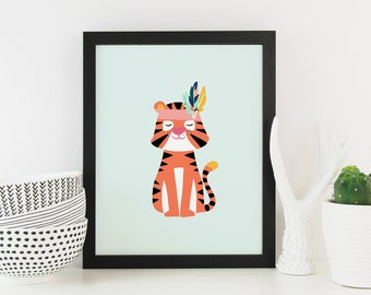 Tiger with Feather Headband - Art Print
