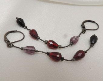 Vintage Crystal Dangle Earrings Purple Red and Black