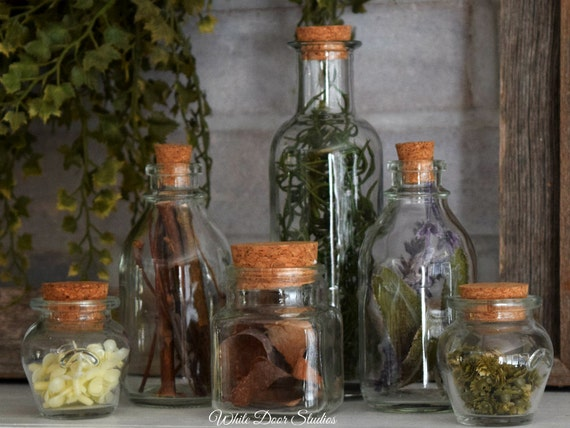 Decorative Herbal Apothecary Bottles - Set of 6